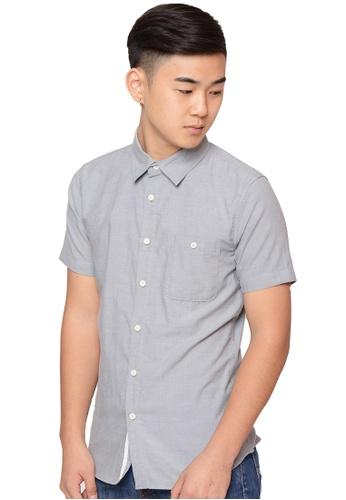 Praise grey Short Sleeves Oxford Shirt PR067AA0HA9CSG_1