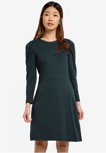 WAREHOUSE green Puff Long Sleeve Ponte Dress F7BE2AAB9AF535GS_1
