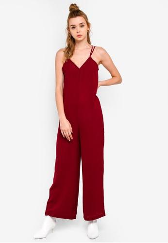 Something Borrowed 紅色 細肩帶連身褲 F36BCAAD0F097FGS_1