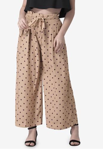 FabAlley beige Polka Pleated Belted Pants 3D5AAAAA38864CGS_1