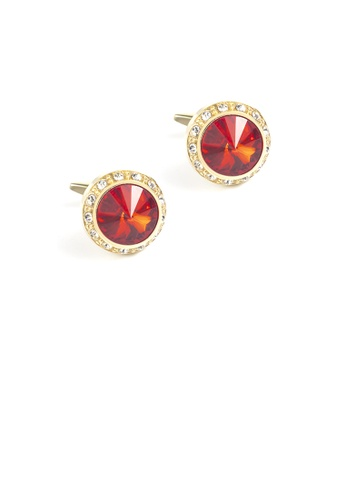 Glamorousky red Fashion Simple Plated Gold Geometric Round Cufflinks with Red Cubic Zirconia AB587ACD9C127EGS_1