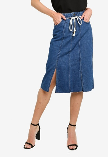 ZALORA blue A-Line Skirt With Rope Belt A6D1EAA8AE7ADEGS_1
