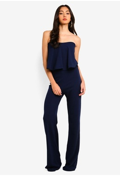 2eeecb818a12 MISSGUIDED Tall Bandeau Frill Wide Leg Jumpsuit RM 149.00. Sizes 14