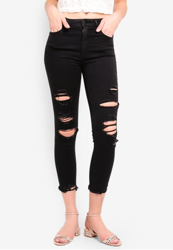 Abercrombie & Fitch black Black Shredded Simone Hr Ankle Jeans D535AAA24742DEGS_1