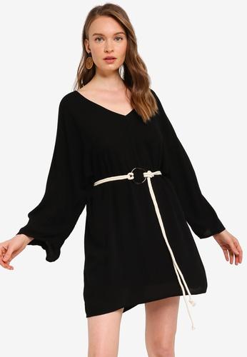 Tula Cruz black Dolman Sleeve Mini Dress with Rope Belt 2E3C5AADFA1AFBGS_1