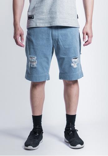 L.I.M.I.T.E 藍色 介爛斜紋短褲 BE9FEAA5407603GS_1