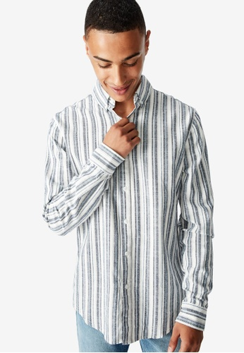 Cotton On blue Textured Long Sleeve Shirt F5F23AACF0EE07GS_1