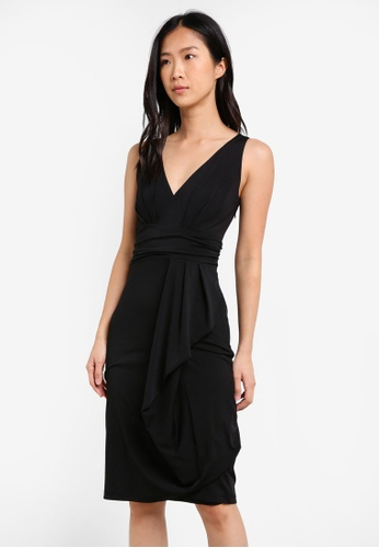 ZALORA black Knitted Drape Dress 9426DAA12EBAF5GS_1