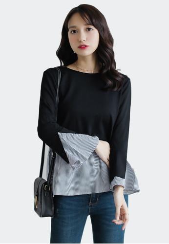 Shopsfashion black and white Colour Block Blouse in Black 5739DAAC6560D8GS_1