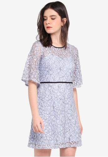 ZALORA blue Contrast Binding Lace Dress A934FAA8D4D901GS_1