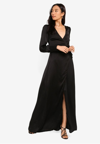 MISSGUIDED black Satin Tie Side Maxi Dress A382CAA1EDDAEAGS_1