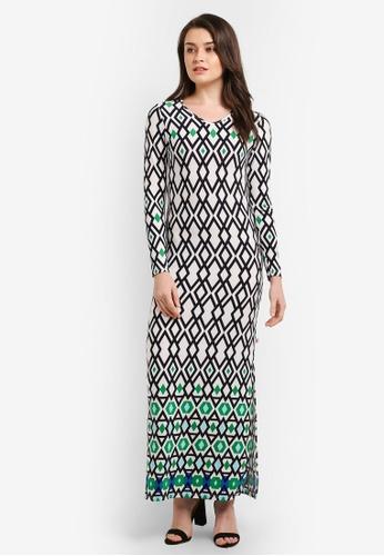 Zariya white Printed Maxi Dress D3A0DAAEB7B0CBGS_1
