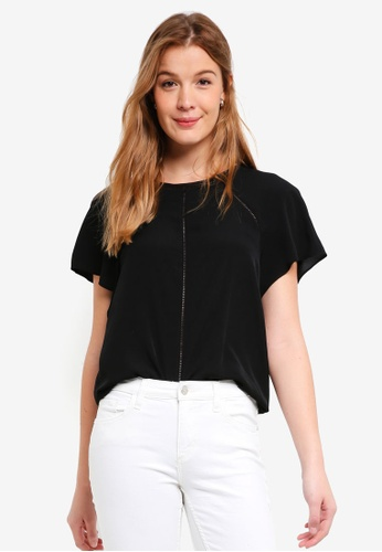 Forever New black Fifi Trim Top 64DC8AA6FCF5D5GS_1