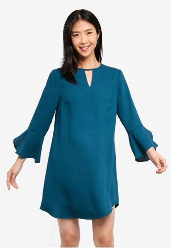 ZALORA BASICS blue Basic Frill Sleeves Swing Dress 5CAA2AA157E522GS_1