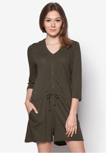 拉鍊繫帶棉質連身褲, 服飾,zalora時尚購物網評價 連身褲