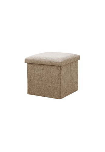 HOUZE Foldable Fabric Storage Stool/Ottomans - 30cm (Khaki) 3E29FHL97837D5GS_1