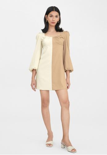 Pomelo beige Two Tone Puffed Sleeves Dress - Beige 2A44BAA00484C0GS_1