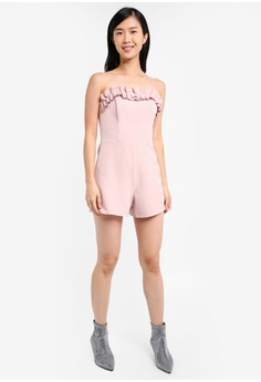 445c84915f 60% OFF Miss Selfridge Petite Ruffle Bardot Playsuit RM 263.25 NOW RM  104.90 Sizes 4 6 8 10 12