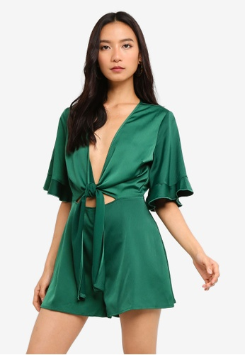 6e59e0599349 Shop MISSGUIDED Satin Tie Front Kimono Sleeve Playsuit Online on ZALORA  Philippines
