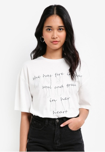 Something Borrowed white Fringed Relaxed Boxy Tee D25E4AA15EB4A7GS_1