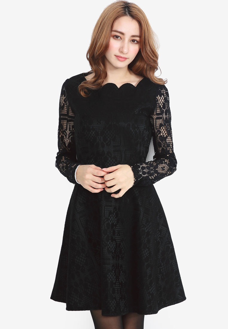 Neck YOCO Dress with Scallop Lace Black wxfRYn