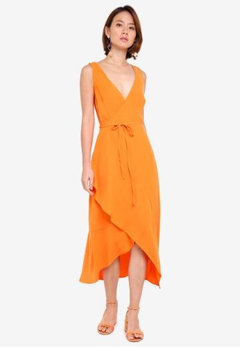 WAREHOUSE orange Asymmetric Wrap Midi Dress 00F65AA4063A2DGS_1