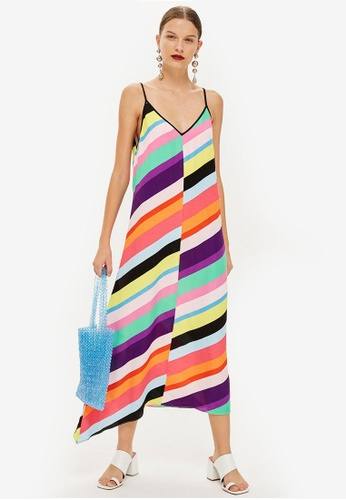 TOPSHOP multi Contrast Stripe Slip Dress B3380AA02DC29AGS_1