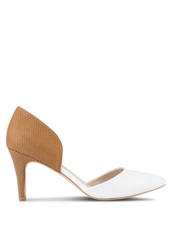 ZALORA white and brown High Heel Pumps 35F53SHFCE3B56GS_1