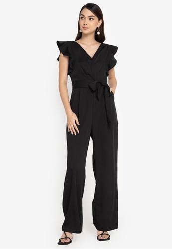 ZALORA WORK black Flutter Sleeves Wrap Jumpsuit 67E5FAA85B64F3GS_1