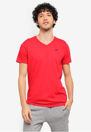 Hollister red Core Icon V-Neck T-Shirt HO422AA0T1BLMY_1