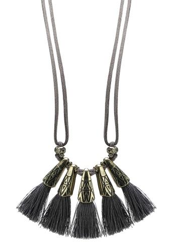 Red's Revenge grey Aztec Grey Tassel Suede Wrap Necklace RE144AC50IUZMY_1