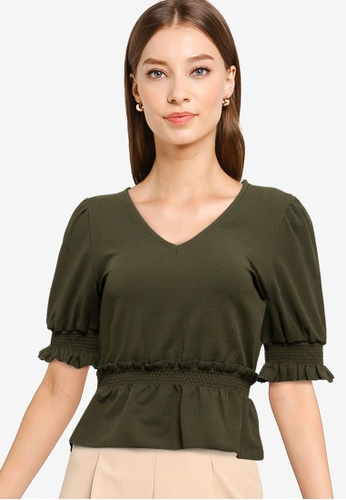 Trendyol green V Neck Flywheel Knit Top 1404DAA0601876GS_1