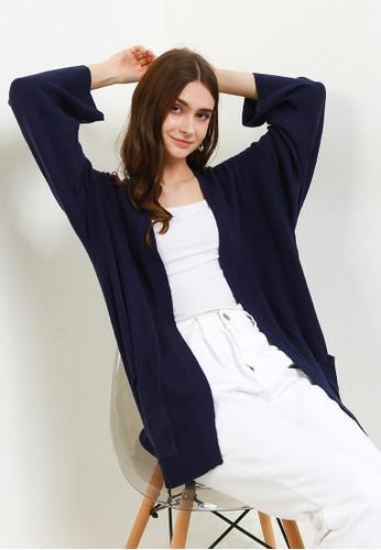 Button On navy Oversized Long Sleeve Rib Kimono BD79AAAA49DB38GS_1