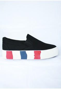 Appetite Shoes Black High Platform Canvas Slip On