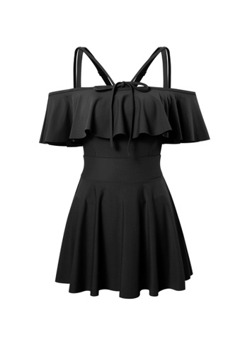 YG Fitness black Strap Ruffled One-Piece Swimsuit 2AEFCUS7CCA571GS_1