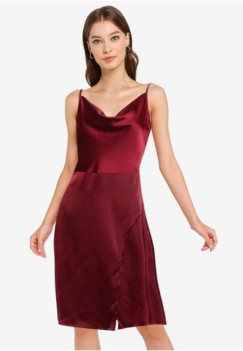 ZALORA OCCASION red Draped Bias Neckline Midi Dress EAADBAAA21A4C9GS_1