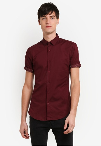 Topman red Muscle Fit Shirt TO413AA0RXUYMY_1