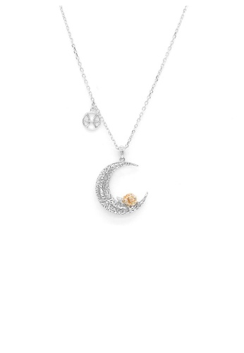 Glamorousky silver 925 Sterling Silver Rose on the Moon Pendant with horoscope necklace - Pisces 783E3AC1CF9F19GS_1