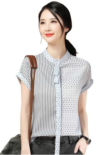 A-IN GIRLS black and blue Fashion Mosaic Chiffon Blouse BC357AA1D496B0GS_1
