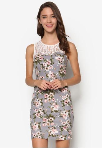 蕾絲拼肩印花直筒連身裙,esprit outlet 高雄 服飾, 洋裝