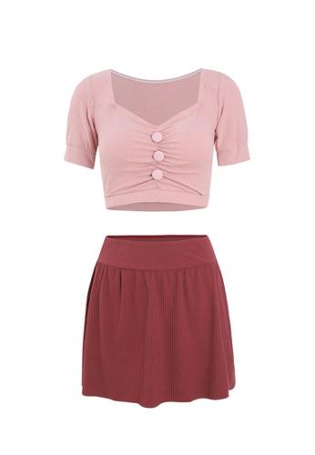 ZITIQUE pink Women's Vintage Style Two-piece Swimsuit - Pink A613BUSC37F6DFGS_1