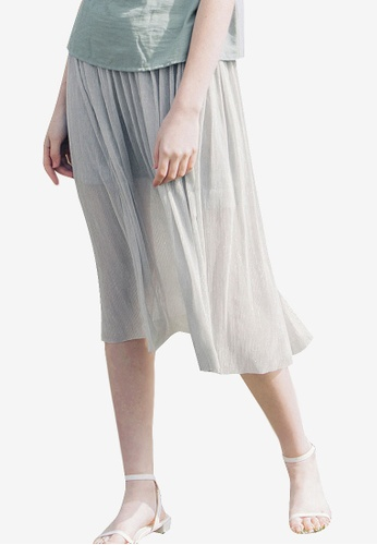 Kodz grey Sheer Midi Skirt With Inner Lining 1D503AA7889F39GS_1