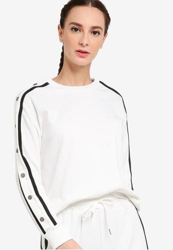 ZALORA ACTIVE white Snap Button Long Sleeve Sweater 5E9CFAA96A5FB7GS_1