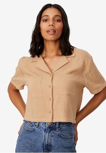 Cotton On brown Erika Short Sleeve Shirt 40F1BAAD6A07D6GS_1