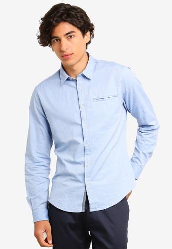 ESPRIT 藍色 長袖襯衫 D9F8FAA0789951GS_1