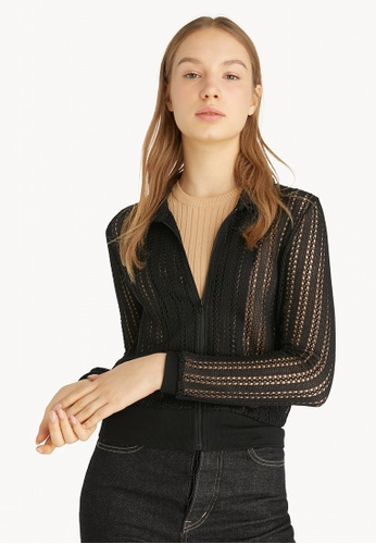 Pomelo black Crochet Collared Jacket - Black 5F027AAC3A8D26GS_1