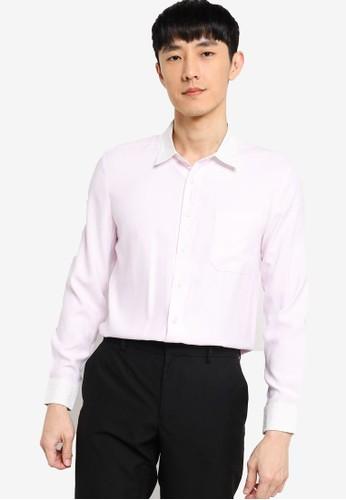 ZALORA BASICS pink Slim Fit Contrast Collar & Cuff Shirt A98C3AA3B3B44EGS_1
