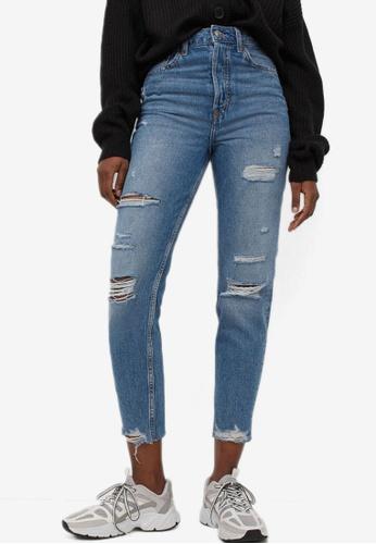 H&M blue Slim Mom High Ankle Jeans FE9DBAAB119709GS_1