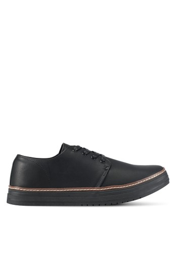 ZALORA black Faux Leather Laced Up Sneakers with All Around Trim C8B1ASH7858B70GS_1