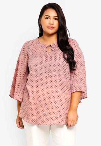 17f707d4deb Ex otico pink Plus Size Polkadot Raglan Sleeve Blouse 48A3FAAB68F140GS 1